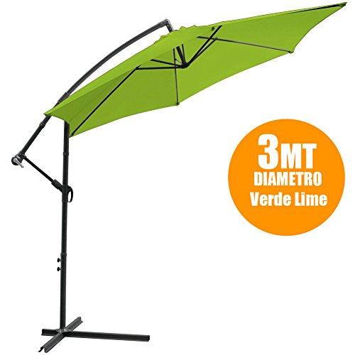 BAKAJI Ombrellone da Giardino Verde Decentrato Diam. 3 mt Retrattile Parasole Alluminio