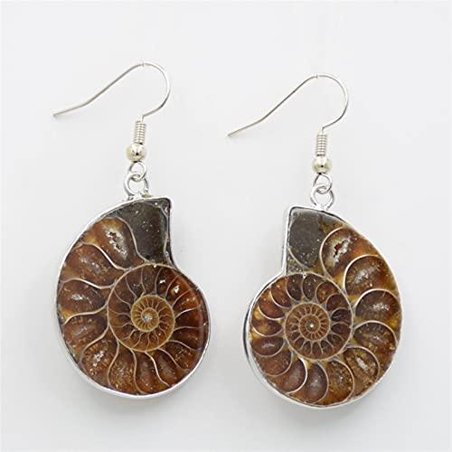 ACEACE Natural Caracol Amonita Espiral Espiral Gota Pendientes Conch Shell Fossils Naturaleza Color Color Colgante Colgante Pendiente de Gancho