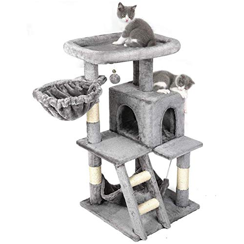 rabbitgoo Cat Tree Cat Tower 39-in, Multi-Level Kitten Stand House Condo with Scratching Posts, Hammock & Large Plush Perch, Tall Indoor Kitty Climbing Furniture Play Center for Large Cats, Light Gray