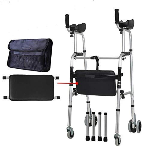 Andador Andador Plegable bariátrico para Trabajo Pesado Andador Plegable de Aluminio Andador con Ruedas con reposabrazos Ayuda para la Movilidad para Caminar Entrenador de extremidades Inferiores
