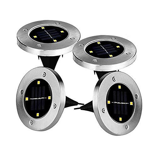 Ionlyou 4 x LED Solarleuchten Solarlampen Bodenleuchte Edelstahl Garten Außen wasserdicht 100LM Warm Weiß Lichtfarbe energieeinsparende 5050 LED Solar