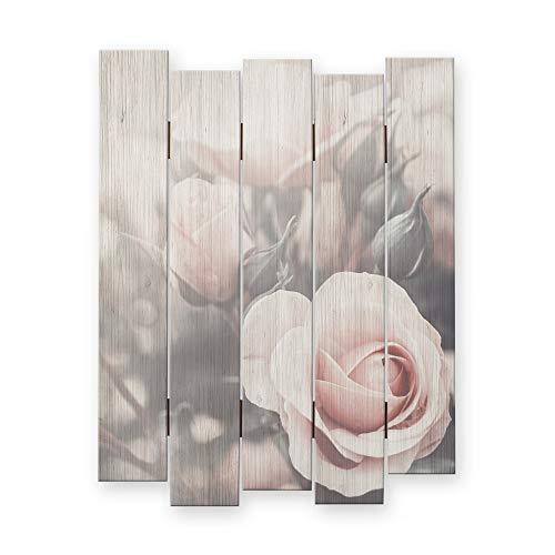 Kreative Feder Rosen | Shabby Chic Landhausstil Wandbild Holz | Deko-Holzbild | Wanddeko für Ihr Zuhause | ca.60x44cm