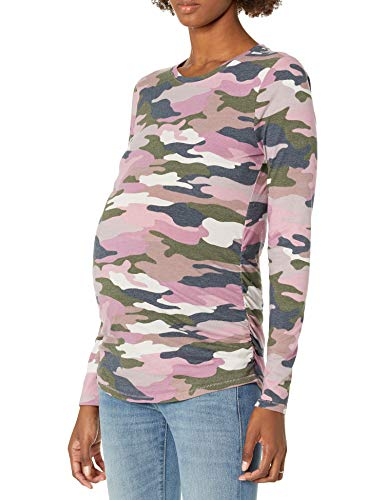 Motherhood Maternity Women's Long Sleeve Crew Neck Tee Shirt, Camo Print, Medium