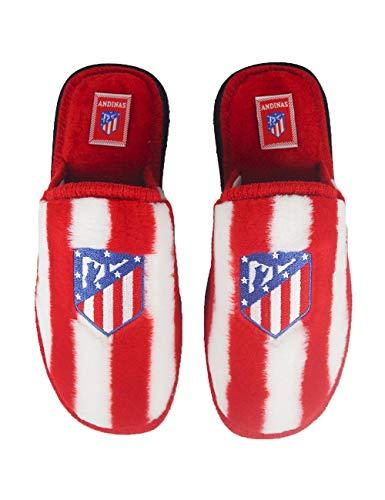 Zapatillas de Estar por casa con Licencia Oficial de Equipos de Futbol Atlético De Madrid - Color - Rojo, Talla - 39