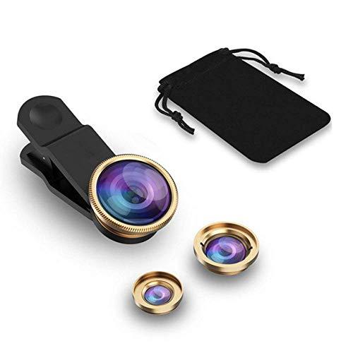 NOSSON Kits De Cámara De Lente Macro Ojo De Pez Gran Angular 3 En 1 Lentes De Teléfono Móvil con Clip Compatible con Todos Los Teléfonos Móviles, Plateado