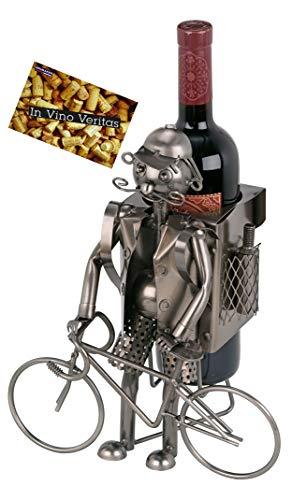 Brubaker Wein Flaschenhalter Fahrradfahrer Metall Skulptur mit Geschenkkarte