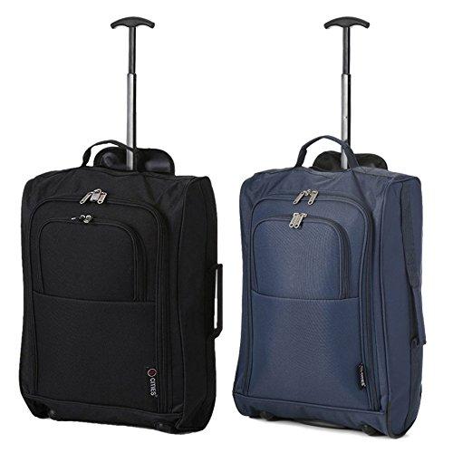 """Set di 2 21 """"/ 55cm 5 Cities cabina Approvato mano bagaglio leggero sacchetti del carrello per Ryanair / Easyjet"""