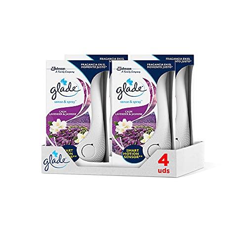 Glade® - Pack de 4 Ambientadores Automáticos Sense & Spray con Sensor de Movimiento, Fragancia Lavanda, Pack Completo Difusor + Recambio (Lavanda)