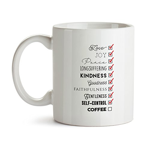 Fruits of the Spirit Coffee Mug - Super Cool Funny and Inspirational Gifts 11 oz ounce White Ceramic Tea Cup - Ultimate Travel Gear Christian Jesus God Religious - Best Joke Fun Sarcasm Checklist