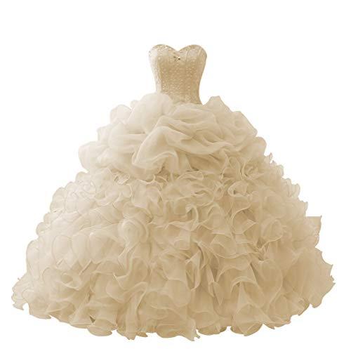 HUINI Quinceanera Kleider Lang Prinzessin Ballkleid Promkleid Tüll Abendkleid Brautkleider Trägerlose Abiballkleider Champagne 32