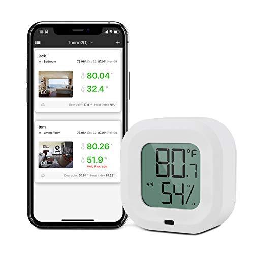 Komake Kabelloses Thermometer Hygrometer, Bluetooth Thermometer Hygrometer für IOS/Andiord, Thermometer Innen mit Datenlogger und Daten Export, Alarm-Funktion, für Wein, Zigarre, Babyzimmer