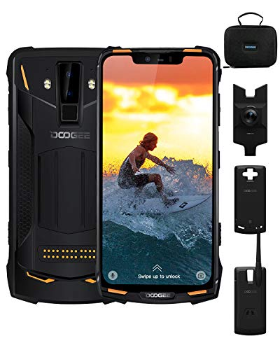 Telephone Portable Incassable, DOOGEE S90C IP68/IP69K Helio P70 4Go+64Go Etanche Smartphone 4G Android 9.0, 10050mAh(Power Mod Include), 6,18 Pouces AI Caméra 16MP+8MP, OTG NFC Charge sans FI, Orange