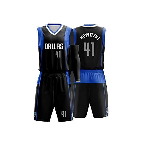 VNBA Mavericks Luka Doncic Basketball Trikot 77, Nr. 41 Dirk Nowitzki Nr. 1 Smith JR Polyester Atmungsaktives Fan Basketball Trikot und Shorts Set-Black 41-4XL(180.185CM)