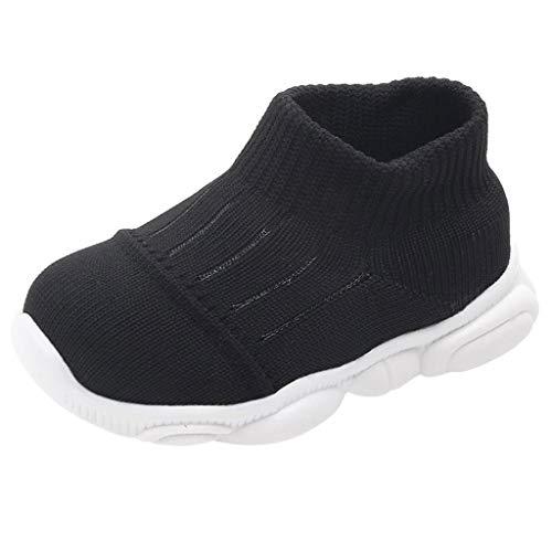 WEXCV Unisex Baby Jungen Mädchen Strumpfwaren Krabbelschuhe Neugeborenen Anti-Rutsch Licht Schuhe Lauflernschuhe 19-22