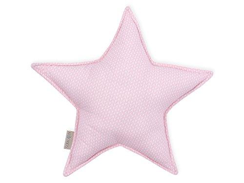 KraftKids Sternkissen kleine Blätter rosa auf Weiß, 45 cm großes Kuschelkissen, Deko-Kissen für das Kinder-Zimmer