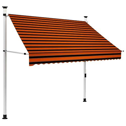 vidaXL Markise Einziehbar Handbetrieben Wasserabweisend Klemmmarkise Balkonmarkise Sonnenschutz Terrasse Balkon Garten 200cm Orange Braun
