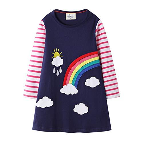 Bebé Niñas Vestidos, Vestido Casual de Manga Larga con Estampado Animal de Dinosaurio para 1-7 años (1-2 años, 02manga Larga - Arcoiris Unicornio)