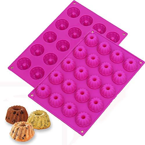 2 Stück Mini Gugelhupfform aus Silikon für 20 Gugelhupf, 20er Silikon Gugelhupfform Kuchenform für Cupcakes, Brownies, Kuchen, Pudding - Antihaft, 30x20x2.3cm, Rosa