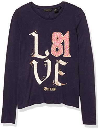 GUESS Girls' Big Long Sleeve Love 81 T-Shirt, Duke Blue, 16