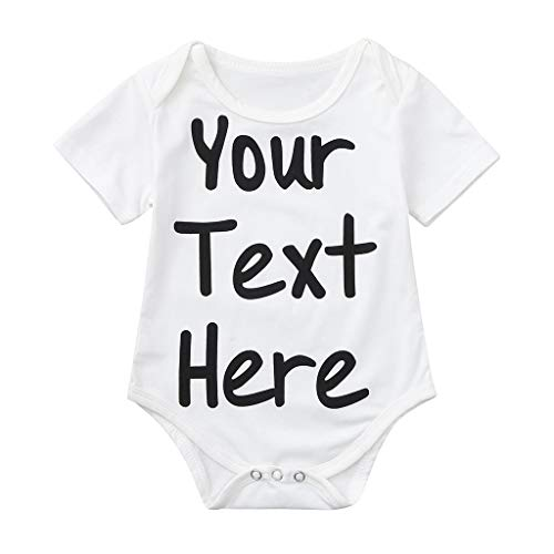 BUKINIE Newborn Baby Boy Girls Letter Infant Rompers Short Sleeve Jumpsuit Clothes(Noir,0-6 Mois
