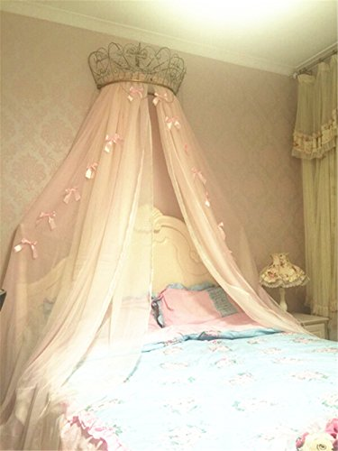 Lotus Karen Princess Bed Canopy Chiffon Girls Bed Curtain Decorative Drapery Metal Crown for Girls Cute Pink Bow-Knots Kids Bedding