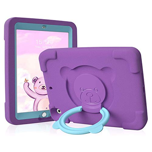 PZOZ iPad Kids Case Compatible for iPad Pro/Air 3rd Generation 10.5 in, EVA Shockproof Rotate Handle Folding Stand Heavy Duty Protective Cute Cover for Boys Girls (Purple)