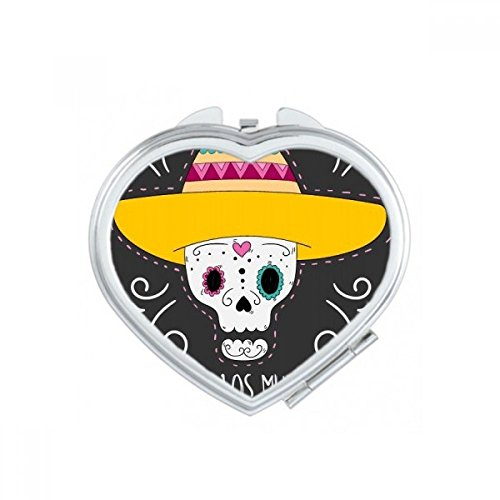 DIYthinker Chapeau de Fleur en Forme de Coeur de crâne Mexique Heureux Le Jour des Morts Coeur Maquillage Compact Miroir de Poche Miroirs Mignon Petit Multicolore
