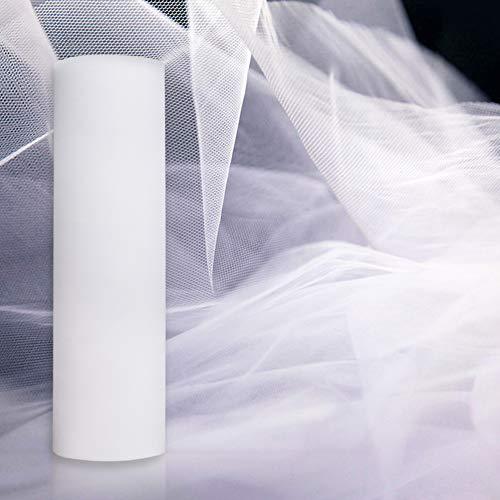 Gudotra 35 Metri Tulle Bianco Rotolo Matrimonio Tulle Organza Decorazione per Matrimonio Sedie Tavolo Auto Compleanno Natale Addobbi Auto Matrimonio