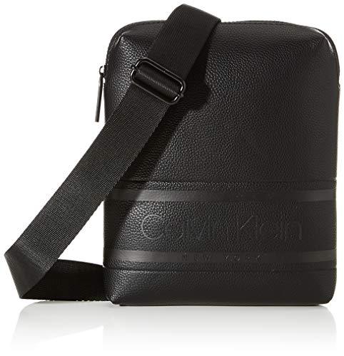 Calvin Klein Striped Logo Pu Flat Crossover - Borse a spalla Uomo, Nero (Blackwhite Black), 1x1x1 cm (W x H L)