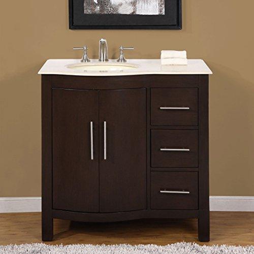 Silkroad Exclusive Hyp-0912-Cm-Uwc-36-L Single Left Sink Bathroom Vanity with Furniture Cabinet, 36', Dark Wood