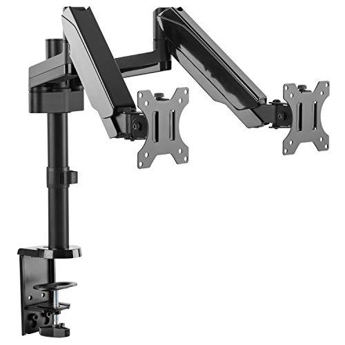 RICOO Monitor-Ständer 2 Monitore-Halterung Gasdruck-Feder Schwenkbar Neigbar (TS3911) Universal 17-32 Zoll (bis 8-Kg, VESA 100x100) PC Computer Schreibtisch Bildschirm-Erhöhung