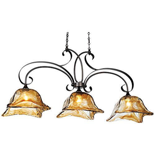 Hot Sale Uttermost 21009 Vetraio 3-Light Kitchen-Island Light with Glass Shades, Oil-Rubbed Bronze