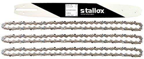 """tallox Schwert und 3 Sägeketten 3/8\"""" 1,3 mm 56 TG 40 cm Führungsschiene kompatibel mit Dollmar Einhell Makita Black & Decker und andere"""