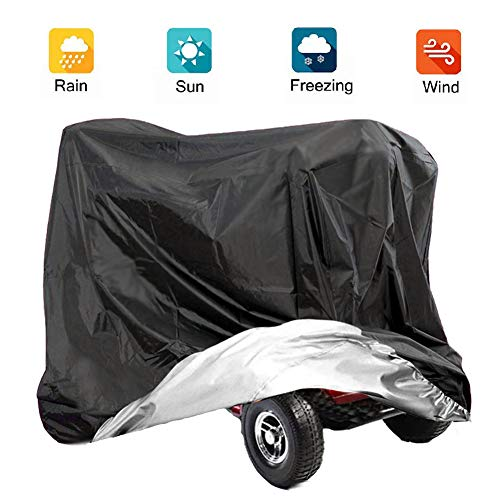 VVHOOY Mobility Scooter Cover, 210D Oxford Heavy Duty Waterproof 4 Wheel Power Scooter Travel Storage Cover All-Weather Outdoor Protection Dust Cover 55x26x36inch