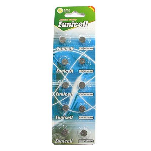 Eunicell Batteria bottone Alcalina AG3 / LR41 / 192 / 392, Confezione da 10 pezzi, lungo data di scadenza (data segnato)