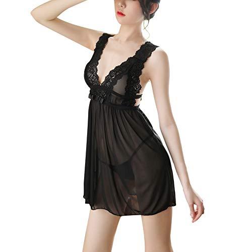 Baywell Lenceria Mujer Encaje Pijama de Arnés Sexy con Arcón Envuelto Deep V Perspectiva Burlas Pasion Traje Negro Blanco