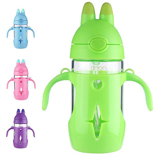 ORIGIN Best Kids BPA-Free Glass Water Bottle for Boys, Girls, and Toddler | Leak-Proof Flip Cap Lid | Protective Plastic Bunny Rabbit Sippy Cup Body with Handles, Silicone Straw | 10 Oz (Lime Green)
