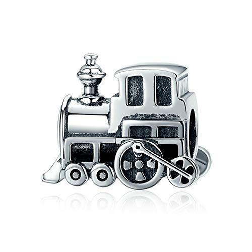 DFHTR Regalo del Día De La Madre 925 Plata De Ley Vintage Locomotora Tren Coche Encanto Apto para Mujer Pulsera con Dijes DIY Fabricación De Joyas