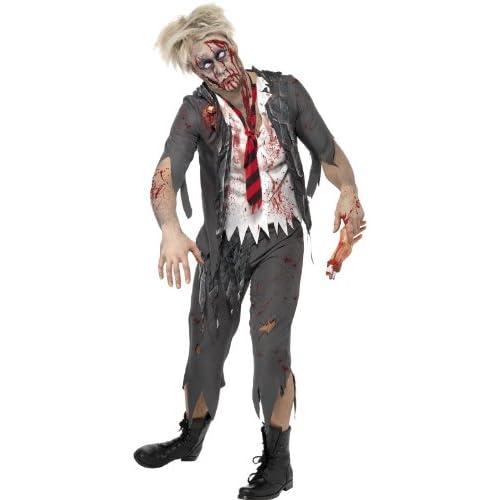 SMIFFYS Smiffy's, Grigio, Costume High School Horror Zombie Scolaro, comprende Giacca, Camicia att Uomo, M-Dimensione 38