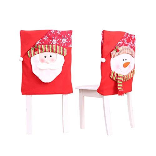 JWDYA 2 Piezas de Navidad Cubierta de la Silla Santa Claus muñeco de Nieve Adornos de Color Rojo for Navidad Inicio Trasero de la Silla de la Cubierta