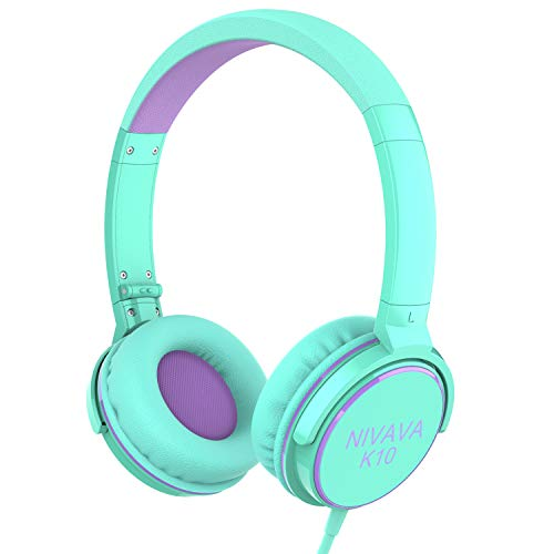 Nivava On Ear Headphones with Mic Wired Foldable Lightweight Adjustable On Ear Headset with 3.5mm Jack for iPad Cellphones Computer Kindle Airplane, K10(Green&Purple)