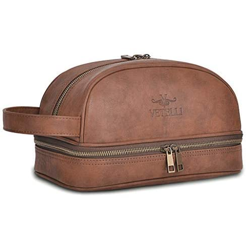 e50016bf29 Vetelli Leather Toiletry Bag For Men (Dopp Kit) with free Travel Bottles.  The