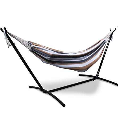 Mototeks Double Hammock with Steel Stand and Carry Bag for Garden Deck Yard Campsite Indoor Outdoor Use Comfort Durability Striped Large Hanging Chair (Brown)
