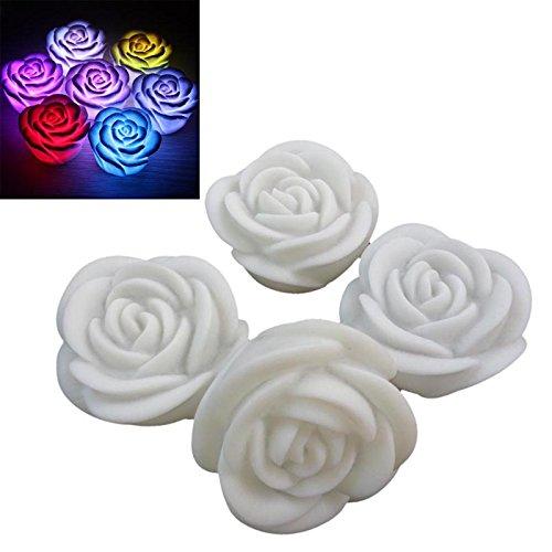 Tutyuity Neue romantische LED schwimmende Rose Blume Kerze Nachtlicht Hochzeit Dekoration Schlafzimmer Party Indoor Weihnachten Outdoor Dekoration