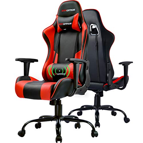 GTPOFFICE Gaming Chair Massage Office Computer Chair for Adult Reclining Adjustable Swivel Leather Computer Chair High Back Desk Chair Headrest and Massage Lumbar Support Cushion(Red) chair gaming red