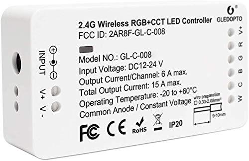 RGB+CCT Steuergerät Controller Treiber Dimmaktor Vorschaltgerät ZigBee kompatibel 12-24 Volt für LED Stripes und Bänder, Kabelspots und Außenstrahler,Smart Dimmer Kompatibel mit Alexa, Google Home
