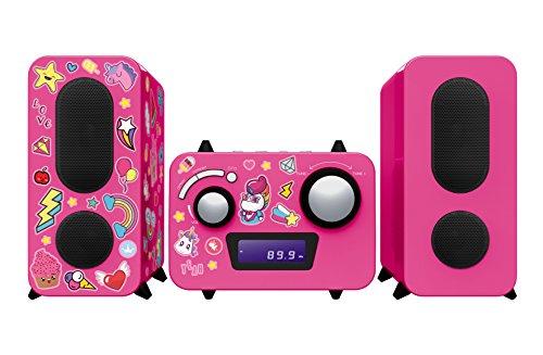Bigben Interactive MCD11RSUNICORNSTICK Home Audio Micro System Pink Home-Stereoanlage - Home-Stereoanlagen (Heim-Audio-Mikrosystem, Pink, Einfarbig, 1 Disks, Oben, FM,PLL)
