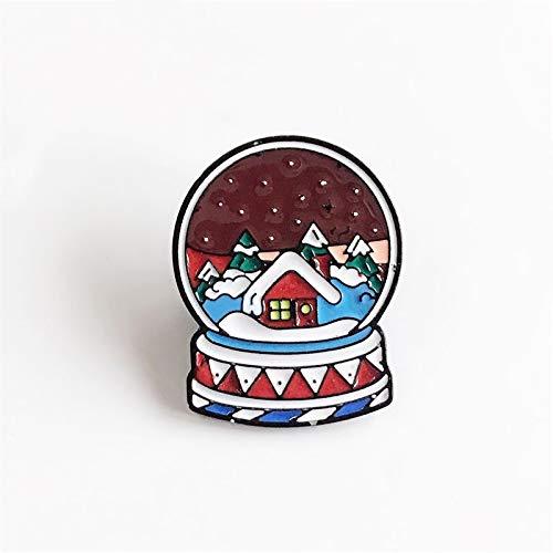 Bola de cristal Broche de esmalte Copos de nieve en la noche Pin de solapa Árbol de Navidad Casa roja Insignia de Navidad Joyería Regalos para niños-Por defecto