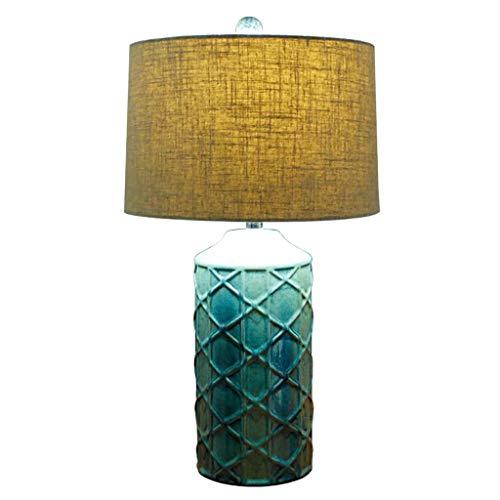 YYQIANG Elegante ontwerpen Ceramic nachtkastje Tafellamp Stijlvol Side bureaulamp met Neutral linnen stoffen kap, Groot for Reading Studeren Werken, Groen 65cm (Color : Button switch)