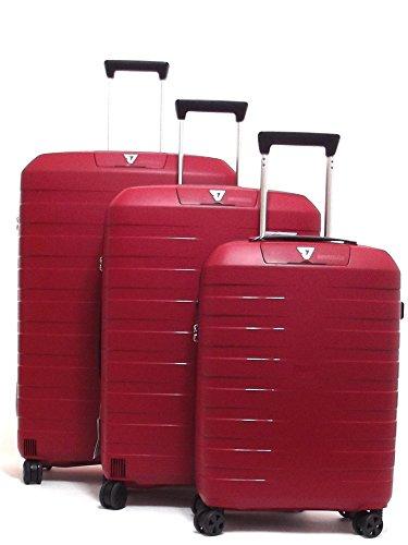 Roncato set tre trolley viaggio, Box 5510-0109 trolley cabina+trolley medio+trolley grande rigidi in polipropilene, colore rosso